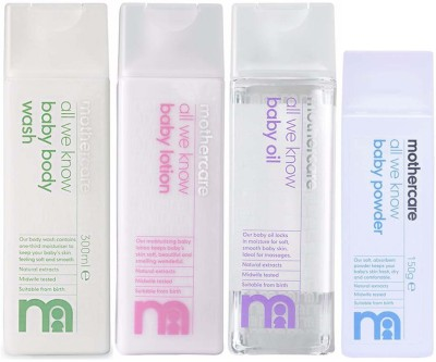 Mothercare Mothercare All We Know Baby Body Wash (300ml), Baby Lotion (300ml), Baby Oil (300ml) and Baby Powder (150gm) Combo