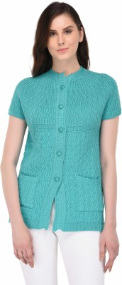 eWools Self Design Round Neck Party Women Light Blue Sweater