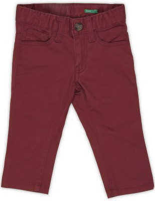 United Colors of Benetton Regular Fit Boys Maroon Trousers
