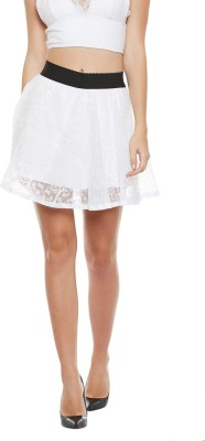 Camey Solid Women's Flared White Skirt