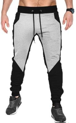 Tripr Color Block Men Black, Grey Track Pants