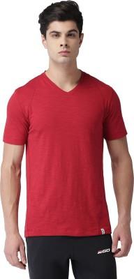 2GO Solid Men V-Neck Red T-Shirt