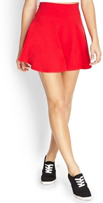 Magnus Solid Women Flared Red Skirt
