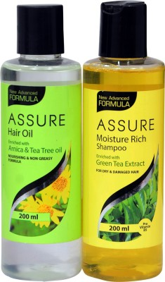 Assure HAIR OIL WITH ARNICA AND MOISTURE RICH YELLOW SHAMPOO WITH GREEN TEA EXTRACT COMBO