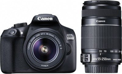 Canon EOS 1300D DSLR Camera Body with Dual Lens: EF-S 18-55 mm IS II + EF-S 55-250 mm F4 5.6 IS II (16 GB SD Card+ Camera Bag)