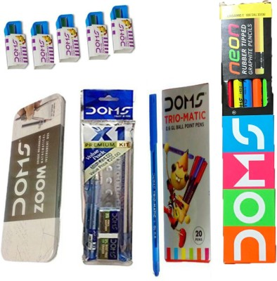 DOMS NEON RUBBER TIPPED PENCIL + X1 KIT + GEOMETRY BOX + EXTRA LONG PENCIL SHARPENERS + TRIO-MATIC BALL PEN Stationery Set