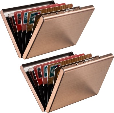 Stealodeal Rose Gold Trendy Waterproof Metal Atm (Pack of 2) 6 Card Holder