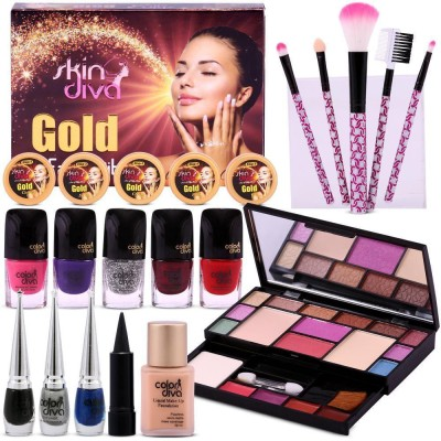 ColorDiva Diwali Special All in One Make-Pallete Combo by Color Diva & Skin Diva Gold Facial Kit-80g