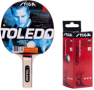 Stiga Combo of Two , One 'Toledo' Table Tennis Racquet and One 'Optimum 40+' Ping Pong Ball box- Table Tennis Kit