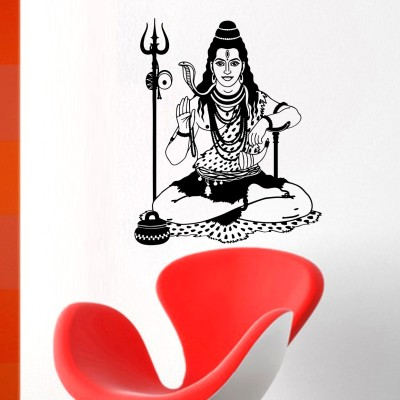 MADHUBAN DÉCOR Large Lord shiva (bholenath) mahadev wall décor sticker ( Wall Coverage Area - Height 59 cms X Width 71 cms )(Pack of 1)  Sticker
