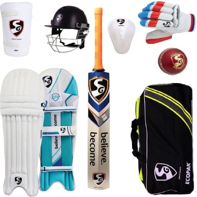 SG Multicolor Economy Cricket Set With Helmet and Cricket Ball Cricket Kit