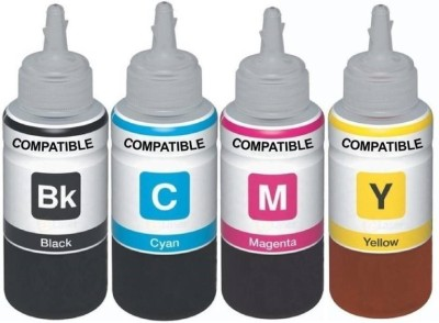Kataria Refill Ink For Use In HP DeskJet 2131 Printer - Cyan, Magenta Yellow & Black - 100 ML Each Bottle Multi Color Ink Cartridge