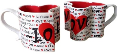 BonZeal Best Love Hearts Ceramic Coffee Teas and Cup Great Gift For Family Lover (Set of 2) Plastic Mug