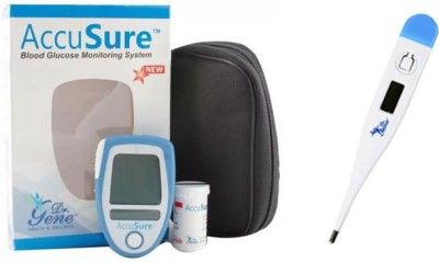 AccuSure GLUCOMETER KIT WITH 25 STRIPS + DIGITAL THERMOMETER Health Care Appliance Combo
