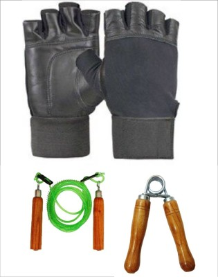 Monika Sports 1 pair of gym gloves+ 1 skipping rope+ 1 handgrip Gym & Fitness Kit