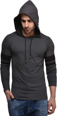 Kay Dee Solid Men's Hooded Grey T-Shirt