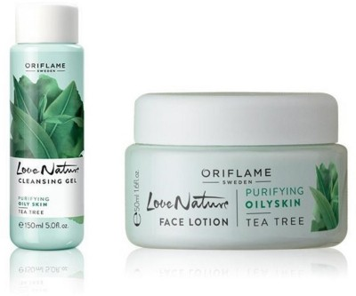 Oriflame Sweden Love Nature Face Lotion & Cleansing Gel Tea Tree
