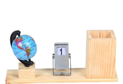 fab handicraft 1 Compartments Wooden, Steel Desk Organizer, Pen Stand, Office Accessories