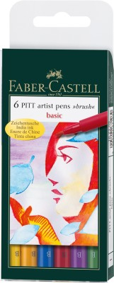 Faber-Castell Pitt Artist Pen wallet of 6 basic shades