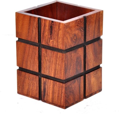 Hashcart 1 Compartments Wooden Pen Stand
