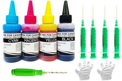 Canon Printer Refill Ink 300ml for MG3670, MG2970, iP7270, MG2577, MG3070, MG2570, MG3077, MG2470, MG2577, MG3170, MP2870, iP7270, E510, E600, 3170, E560 PIXMA E, MG, MP REFILL INK FOR CANON CARTRIDGES - 300ml with 4 Syringes and Thumb Drill Multi Color Ink Cartridge