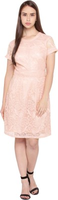Annabelle by Pantaloons Women's Fit and Flare Pink Dress