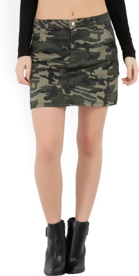 Forever 21 Printed Women A-line Brown, Green Skirt