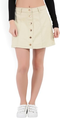 Forever 21 Solid Women A-line Beige Skirt