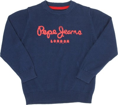 Pepe Jeans Solid Round Neck Casual Boys Blue Sweater