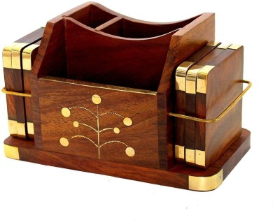 WoodCart 3 Compartments H@ndmade Wooden Desk Organizer, Wooden Tea Coaster/ Coasters Set of 6, Pen Stand, Business Card Holder With Brass Work Office Table Accessories Office Set