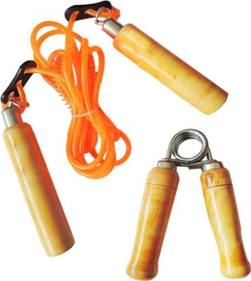 Monika Sports 1 skipping rope + 1 wooden hand grip for home & gym exercise Gym & Fitness Kit
