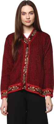 Perroni Women Button Self Design Cardigan