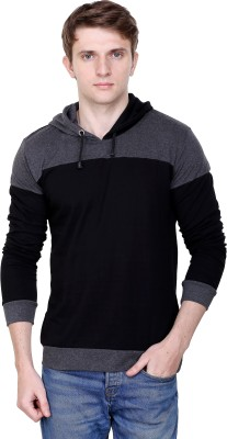Fabstone Collection Solid Men Hooded Grey T-Shirt
