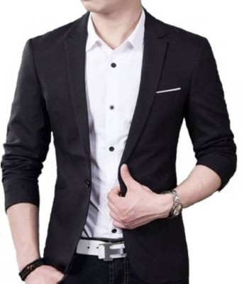 one click Solid Single Breasted Party, Wedding, Casual Men's Blazer