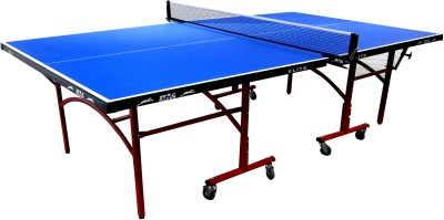 Stag Elite Outdoor WeatherProof CEN Certified Table Tennis Table with Net Set Two Racquets and Six Balls Features Quick Assembly and Play Back Mode Rollaway Outdoor Table Tennis Table
