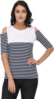 Raaika Striped Women Round Neck White, Black T-Shirt
