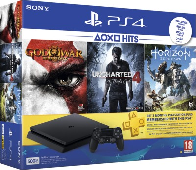 Sony PS4 500 GB with Horizon Zero Dawn, Uncharted 4 and God of War III: Remastered