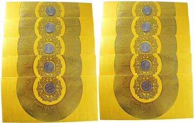 Muccasacra Designer/ Festive/Wedding & all Purpose Money cover/ Cash cover/ 1 rupee coin Shagun Envelopes(yellow colour Pack of 10) Envelopes