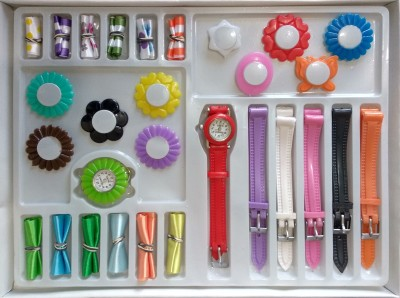 SPINOZA multicolor 18 changable strap and ribbon flower kid combo Watch  - For Girls