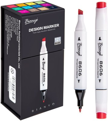 Bianyo Dual Tip Art Permanent Marker Pen Set, 12 Pcs