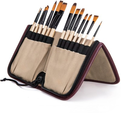 Bianyo Artist Paint Brush Set in Zippered Black Pouch