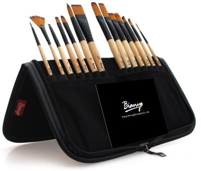 Bianyo Artist Paint Brush Set in Zippered Black Pouch (Black)