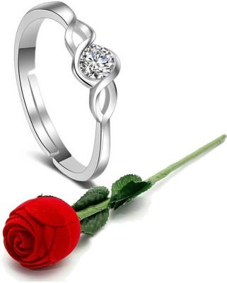 Karatcart Valentine Gift By Karatcart Platinum Plated Elegant Classic Crystal Adjustable Ring For Women Alloy Platinum Plated Ring
