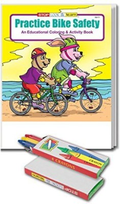 Safety Magnets Practice Bike Kid'S Coloring & Activity Book & Crayon Set In Bulk (25 Pack)