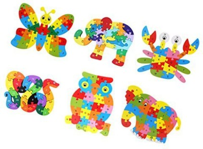 Dovewill 6 Sets 26Pcs Baby Developmental Wooden Abc Alphabet Jigsaw Puzzle Kids Early Learning Toy Gift