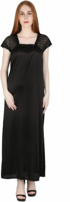 Marami Women's Solid Black Night Suit Set