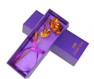 JAMBOREE Tied Ribbons Valentine's Day Gift 24K Gold Plated Rose with Attractive Gift Box And Carry Bag Artificial Flower Gift Set Artificial Flower Gift Set