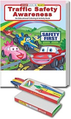 Safety Magnets Traffic Awareness Kid'S Coloring & Activity Book & Crayon Set In Bulk (25 Pack)