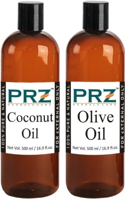 PRZ Combo of Extra Virgin Olive Oil & Extra Virgin Coconut Oil (Each 500ml) - Pure Natural For Aromatherapy Body Massage, Skin Care & Hair ReGrowth