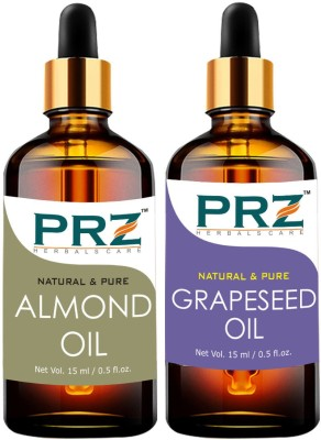 PRZ Combo of Almond Oil & Grapeseed Oil For Hair Growth, Skin Care (Each 15ML ) - Pure Natural & Therapeutic Grade Oil For Aromatherapy Body Massage, Skin Care & Hair Care